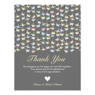 """Hanging Origami Paper Cranes (Pewter) Thank You 4.25"""" X 5.5"""" Invitation Card"""