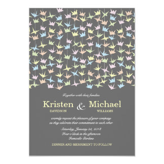 Hanging Origami Paper Cranes (Pewter) Wedding 5x7 Paper Invitation Card