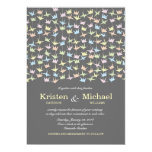 Hanging Origami Paper Cranes (Pewter) Wedding Personalized Invitation