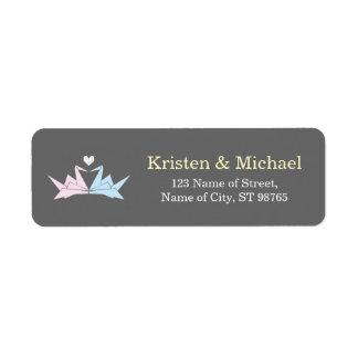 Hanging Origami Paper Cranes (Pewter) Wedding Return Address Label