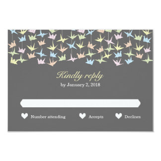 Hanging Origami Paper Cranes (Pewter) Wedding RSVP 3.5x5 Paper Invitation Card