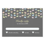 Hanging Origami Paper Cranes (Pewter) Wedding RSVP Personalized Invite