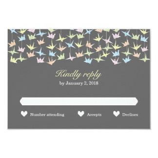 Hanging Origami Paper Cranes (Pewter) Wedding RSVP 3.5x5 Paper Invitation Card