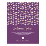 Hanging Origami Paper Cranes (Purple) Thank You 4.25x5.5 Paper Invitation Card