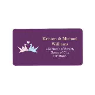 Hanging Origami Paper Cranes (Purple) Wedding Label
