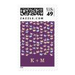 Hanging Origami Paper Cranes (Purple) Wedding Postage Stamp