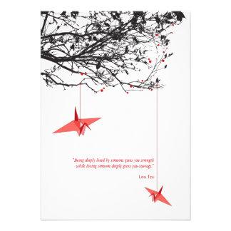 Hanging Origami Paper Cranes Tree Wedding Invite Invites