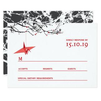 Hanging Origami Paper Cranes Tree Wedding RSVP Card