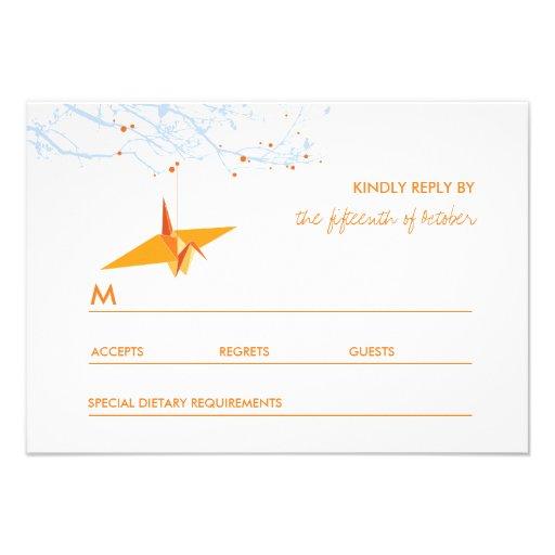 Hanging Origami Paper Cranes Tree Wedding RSVP Announcement