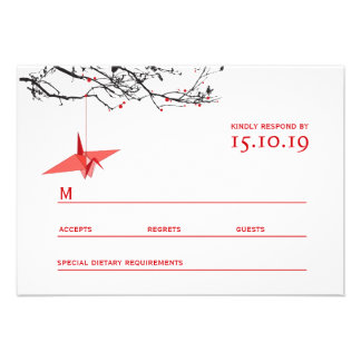 Hanging Origami Paper Cranes Tree Wedding RSVP Personalized Announcements