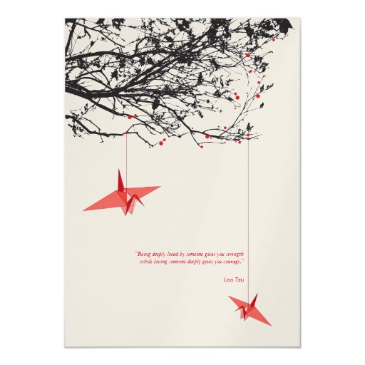 Hanging Origami Paper Cranes Wedding Invitation Personalized Invitations