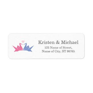 Hanging Origami Paper Cranes Wedding Label