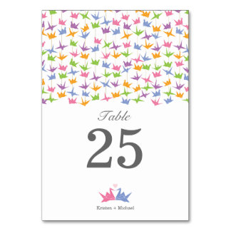Hanging Origami Paper Cranes Wedding Table No. Table Cards