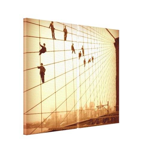Hanging Out Brooklyn Bridge Cables Wall Art Stretched Canvas Prints