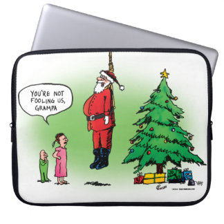 Hanging Out Santa Twisted Cartoon Computer Sleeve