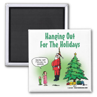Hanging Out Santa Twisted Cartoon Magnets