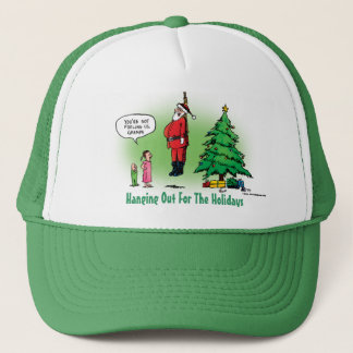 Hanging Out Santa Twisted Cartoon Trucker Hat