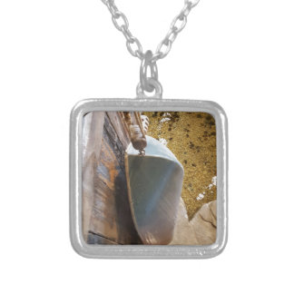 Hanging Out to Dry Vintage Row Boat Square Pendant Necklace
