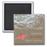 Hanging Paper Cranes & Branch Save The Date Magnet