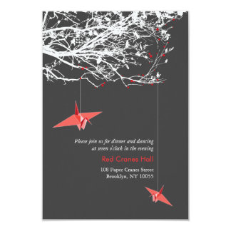 Hanging Paper Cranes Branch Tree Wedding Reception Card