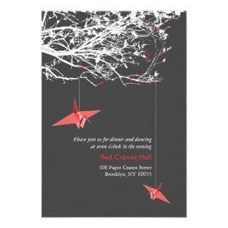 Hanging Paper Cranes Branch Tree Wedding Reception Announcements
