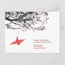 Hanging Paper Cranes Origami Oriental Wedding RSVP Invitation Postcard