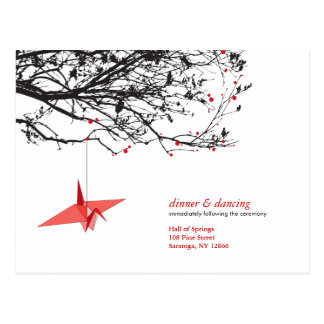 Hanging Paper Cranes Origami Oriental Wedding RSVP Postcard