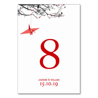 Hanging Paper Cranes Wedding Table Number Card