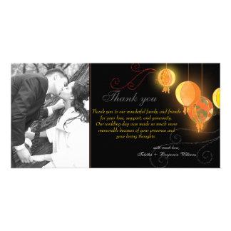 Hanging Paper Lanterns Wedding Photo Thank You Card