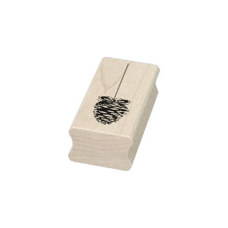 Hanging Pine Cone Christmas Rubber Art Stamp