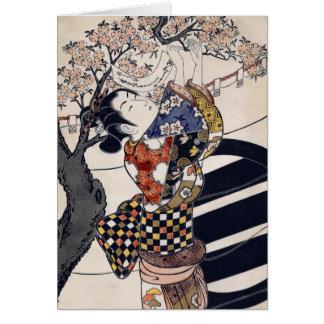 Hanging poems on a cherry tree, Ishikawa Toyonobu Card