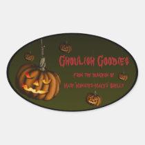 Hanging Pumpkin, halloween baking lables Oval Sticker