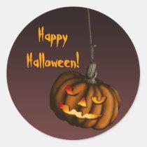 Hanging Pumpkin, sticker Round Sticker