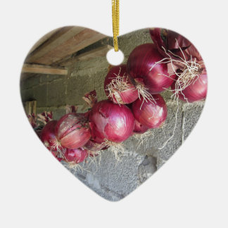 Hanging red onion collection Double-Sided heart ceramic christmas ornament