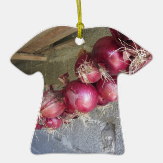 Hanging red onion collection Double-Sided T-Shirt ceramic christmas ornament