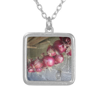 Hanging red onion collection square pendant necklace