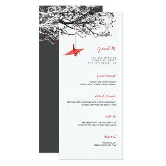 Hanging Red Paper Cranes Asian Wedding Menu Card