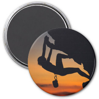 Hanging Rock Climber at Sunrise Magnet