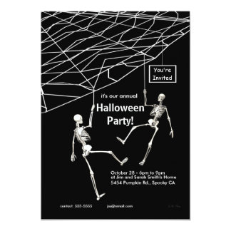 Hanging Skeletons Halloween Party Card