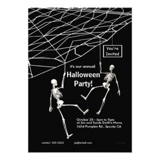 Hanging Skeletons Halloween Party Custom Invitation
