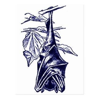 Hanging Sleeping Bat (Dark Blue Version) Postcard