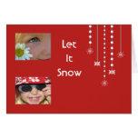 Hanging Snowflakes Custom Card (red)