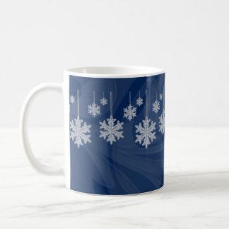 Hanging Snowflakes dark blue Coffee Mugs