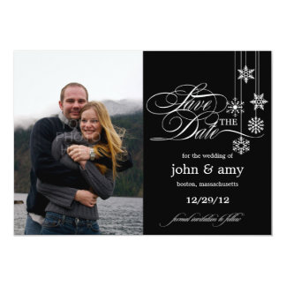 """Hanging Snowflakes Save The Date Announcement 5"""" X 7"""" Invitation Card"""