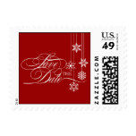 Hanging Snowflakes Save The Date Postage (Red) Postage Stamps