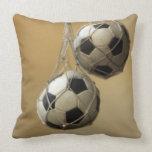 Hanging Soccer Balls Throw Pillow