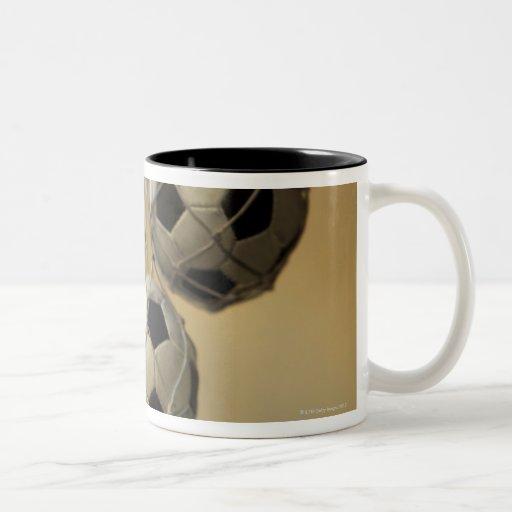 Hanging Soccer Balls Two-Tone Coffee Mug