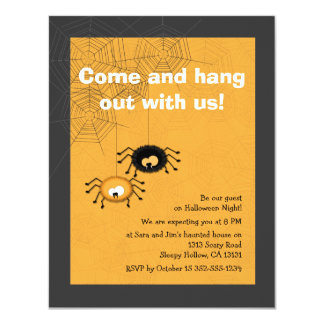 Hanging Spiders Halloween Party Invitation