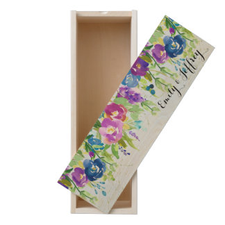 Hanging Spring Flowers with bright pops of color Wooden Keepsake Box