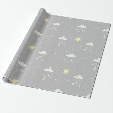 Toddler & Baby themed Hanging Stars - Gender Neutral Grey and Cream Wrapping Paper